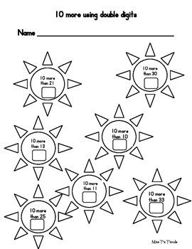 Kindergarten 10 more 10 less Packet