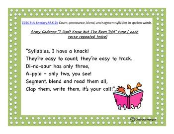 Kindergarten  - 14 CCS Cadence Chants Posters - ELA Reading Foundational Skills