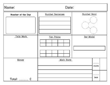 Kindergarten / 1st Grade / 2nd Grad Daily Math Practicee
