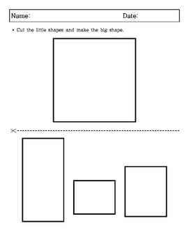 Kindergarten, 1st Grade, 2nd Grade - Geometry Puzzles - Cutting and Paste
