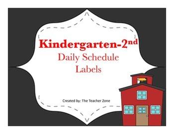 Kindergarten, 1st Grade, 2nd Grade Schedule Labels
