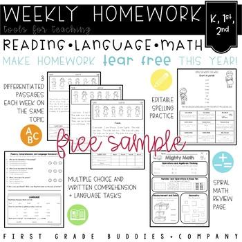 Kindergarten, 1st Grade, 2nd Grade Weekly Homework Sample