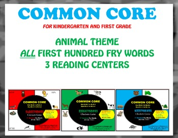 Kindergarten & 1st Grade COMMON CORE First Hundred FRY WORDS Literacy Centers