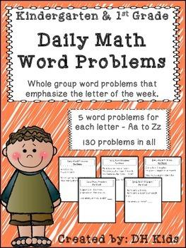 Kindergarten & 1st Grade Daily Math Word Problems