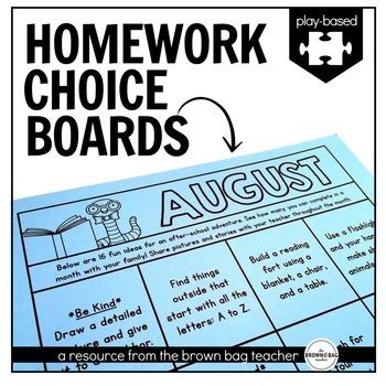 Kindergarten & 1st Grade Homework Choice Boards (EDITABLE): Play/Experience HW
