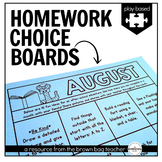 Kindergarten & 1st Grade Homework Choice Boards (EDITABLE)