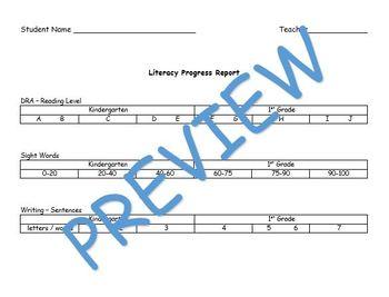 Kindergarten/1st Grade Literacy Progress Report