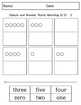 Kindergarten & 1st Grade Math - Cut & Paste - Objects and Number Words Matching
