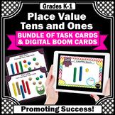 Kindergarten & 1st Grade Place Value Tens and Ones BUNDLE, Boom Math Task Cards