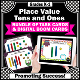 Tens and Ones Place Value Task Cards BUNDLE, Math Boom Cards Digital