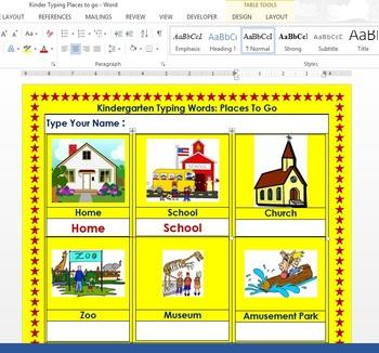 Kindergarten & 1st Grade Practice Typing within Microsoft Word Windows 8/8.1