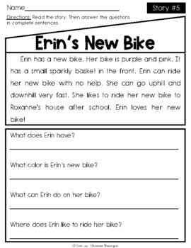 Kindergarten & 1st Grade Reading Comprehension Passages SET 1