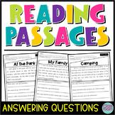 Kindergarten & 1st Grade Reading: Comprehension Passages SET 1