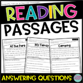Kindergarten & 1st Grade Reading Comprehension Passages SET 1