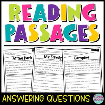 Kindergarten & 1st Grade Reading Comprehension Passages