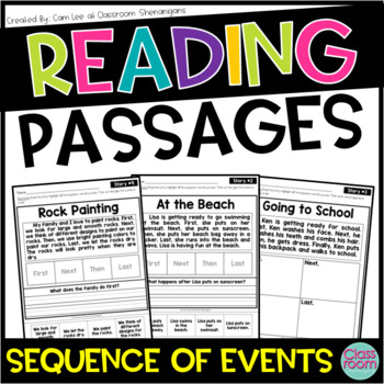 Kindergarten & 1st Grade Reading Sequence of Events Passages SET 2