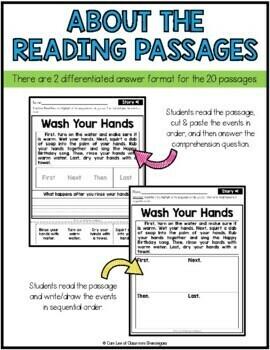 Kindergarten & 1st Grade Reading: Sequence of Events Passages SET 2