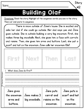 Kindergarten & 1st Grade Reading Sequence of Events Passages SET 2 - FREEBIE!!