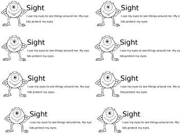 Kindergarten - 1st Grade Senses Journal Entries
