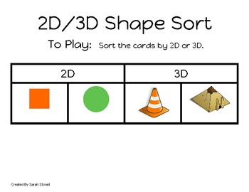 Kindergarten 2D/3D Shape Sort