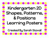 Kindergarten 2D Shapes Learning Posters
