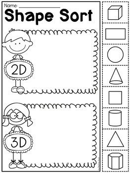 Kindergarten 2d And 3d Shapes Worksheets Distance Learning By My Teaching Pal - View 3D Shapes Kindergarten Worksheet Gif