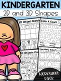 Kindergarten 2D and 3D Shapes Worksheets - Distance Learning