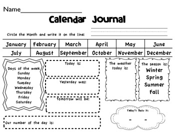 Kindergarten-2nd Daily Calendar Journal