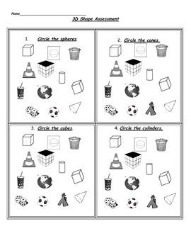 Kindergarten 3D Shape Assessment for TEKS