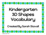 Kindergarten 3D Shape Vocabulary
