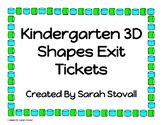 Kindergarten 3D Shapes Exit Tickets