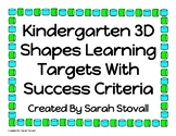 Kindergarten 3D Shapes Learning Targets w/ Success Criteria