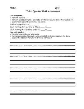 Kindergarten 3rd Quarterly Assessment w/ Common Core I Can Statements
