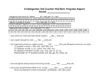 Kindergarten 3rd quarter mid term