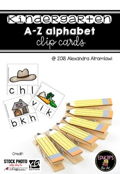 Kindergarten A-Z Alphabet Clip Cards