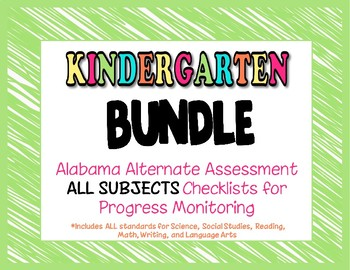 Kindergarten AAA ALL SUBJECTS BUNDLE Checklist Progress Monitoring