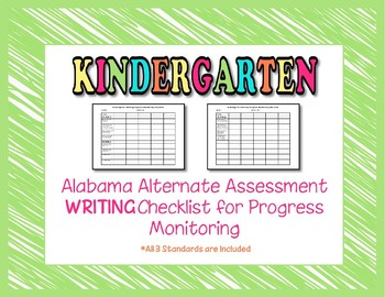 Kindergarten AAA Writing Checklist Progress Monitoring
