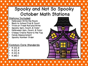 Halloween Kindergarten Math Center - Common Core Aligned