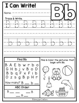 Kindergarten ABC Worksheets by Jenny-Lynn Creations   TpT