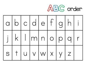 Kindergarten ABC order Literacy Station