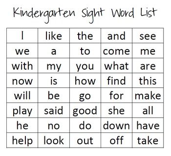 Resource image in kindergarten sight word list printable