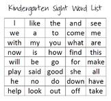 Kindergarten AND 1st Grade Sight Word List