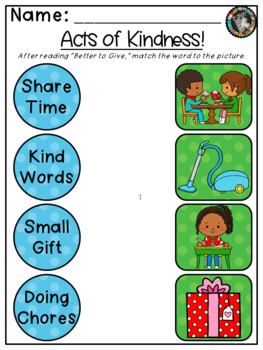Kindergarten/ First Grade Theme -  It's Better to Give Random Acts of Kindness