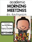 Kindergarten Academic Morning Meetings/ Poem of the Week SEPTEMBER