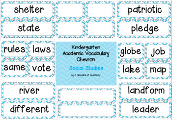 Kindergarten Academic Vocabulary Social Studies Editable