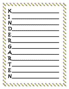 Kindergarten Acrostic