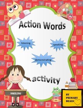 Kindergarten Action Words Activity: Speaking, listening an