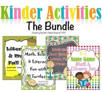 Kindergarten Activities Bundle Science, Math & Literacy Practice Skills