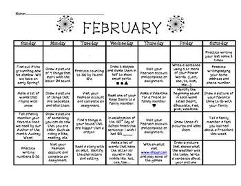 Kindergarten Activity Calendars