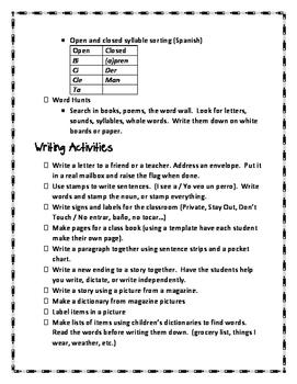 Kindergarten Activity Ideas (Great for Spanish or Bilingual Classrooms)